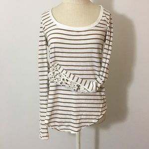 Free People Long Sleeve Striped Tee Size Small